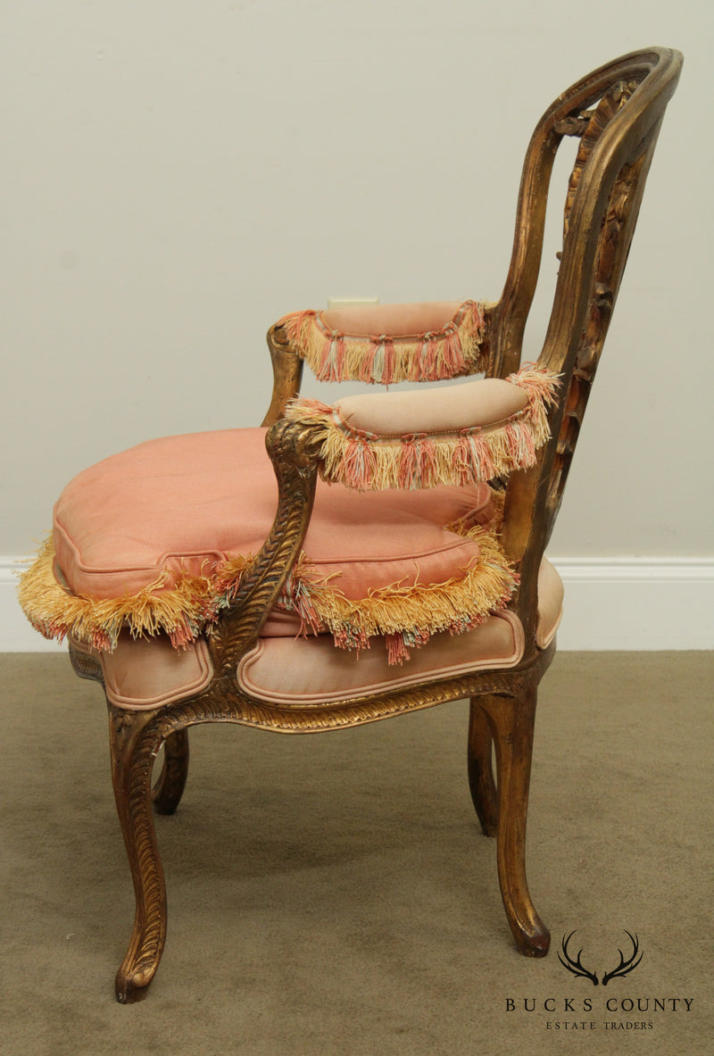 Antique French Louis XV, Rococo Carved Gilt Wood Armchair