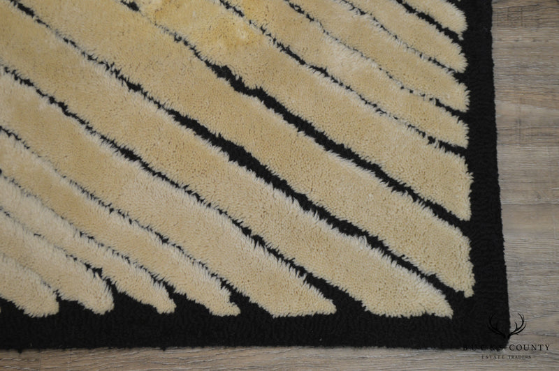 Edward Fields Signed Mid Century Modern Black & White Abstract Room Size Rug
