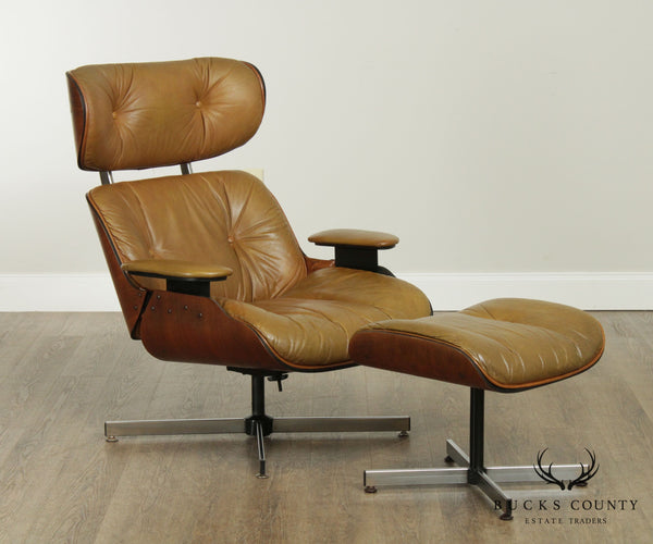 Selig Mid Century Modern Walnut & Leather Eames Style Lounge Chair, Ottoman