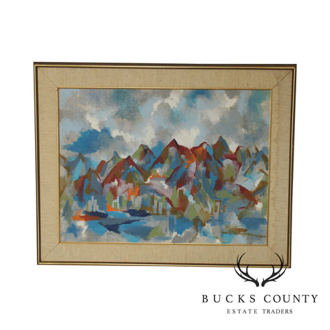 Gaylord Flory Abstract Mountains & City Oil Painting