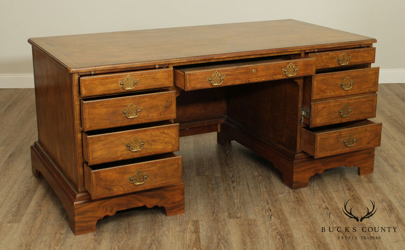 Baker Georgian Style Large Vintage Walnut Executive Desk