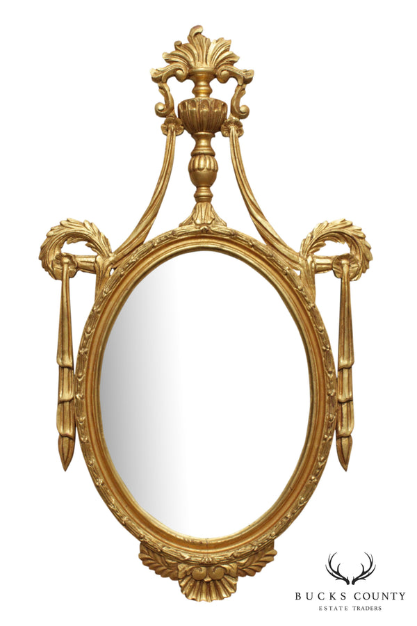 Adams Style Oval Gilt Wood Frame Wall Mirror