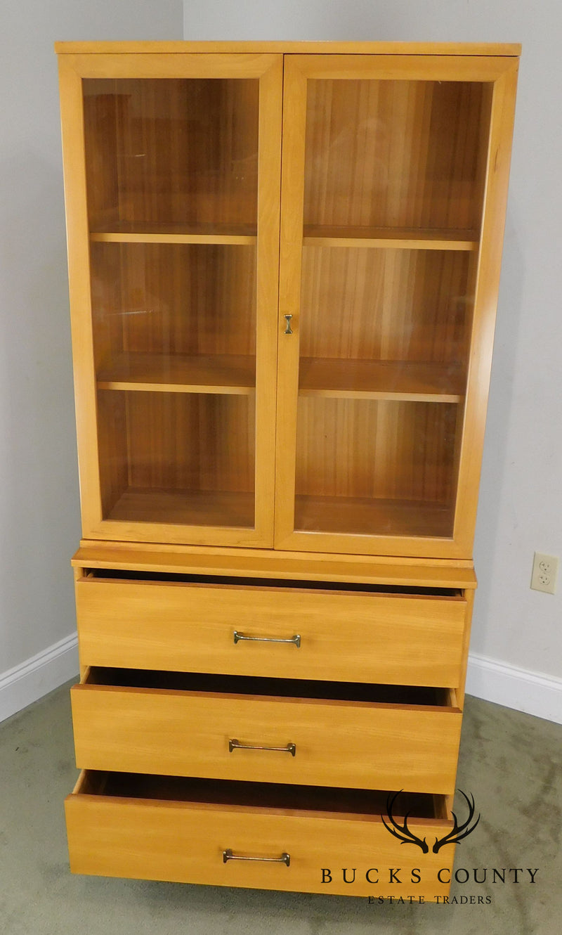 "Milo Baughman for Drexel ""New Today's Living"" MCM Blonde China Cabinet Bookcase"