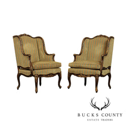 Randall Jy Singer For EJ Victor French Louis XV Style Pair Bergere Chairs