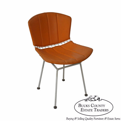 Knoll Vintage Bertoia White Wire Side Chair w/ Orange Cushion