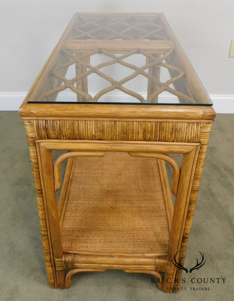 Vintage Rattan Glass Top Sofa Table Console