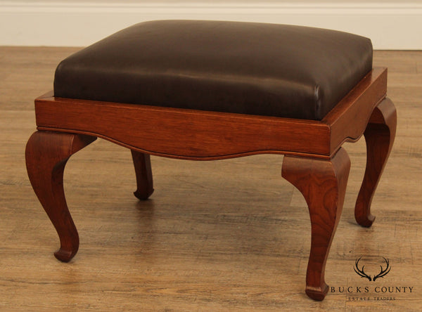 Antique Walnut and Brown Leather Footstool