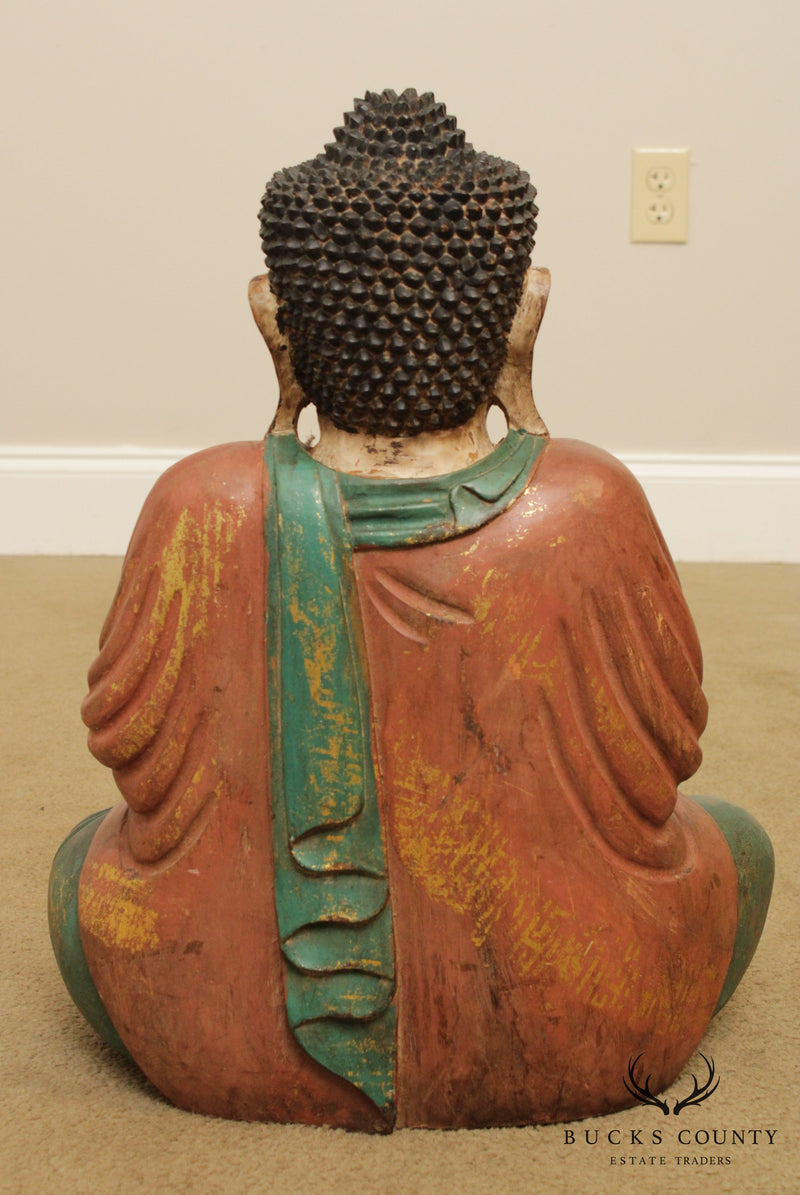 Vintage Polychrome Painted Wood Buddha Statue