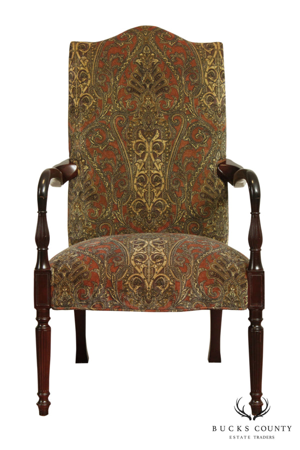 Sheraton Style Paisley Upholstered Armchair