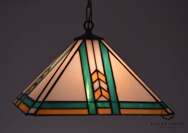 Arts & Crafts Style Quality Hanging Stained Glass Pendant Light