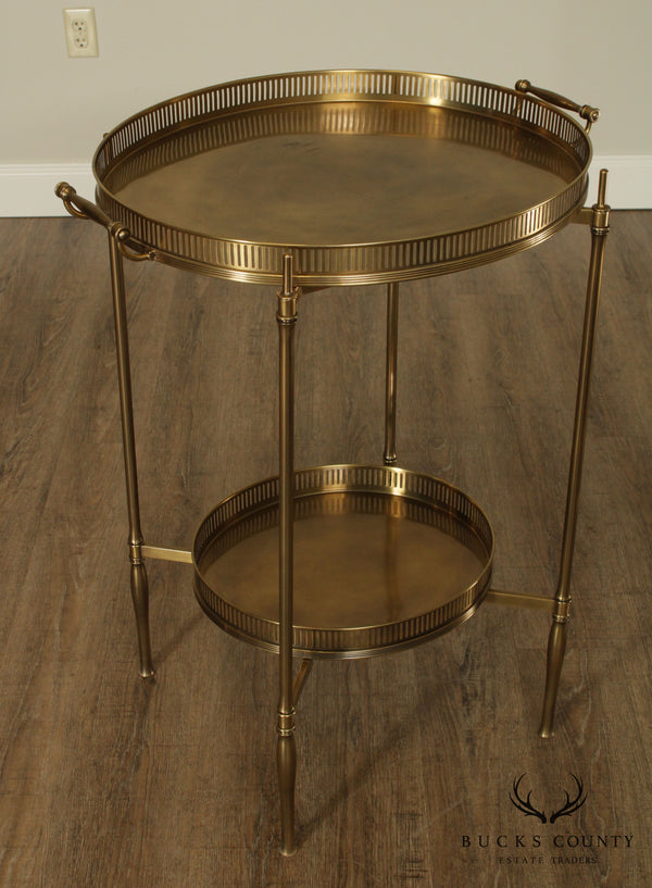 Directoire Style Brass 2 Tier Tray Top Bar Table Server