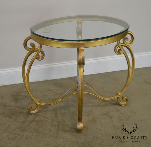 Rococo Style Gilt Metal Scrolled Base Glass Top Side Table