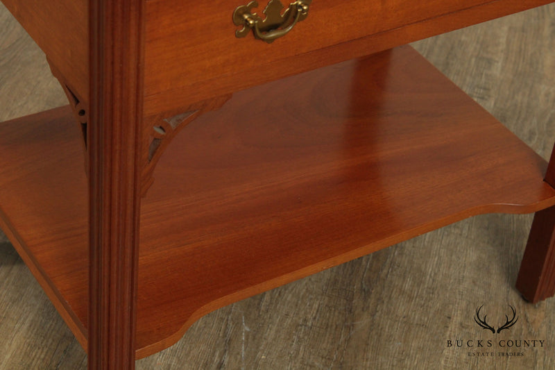 Chippendale Style Custom Crafted Mahogany Side Table Nightstand