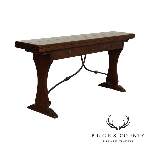 Quality Spanish Renaissance Style Iron Trestle Console, Fold Down Top Table