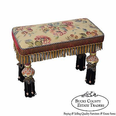 Mackenzie Childs Ltd Porcelain & Upholstered Bench (A)