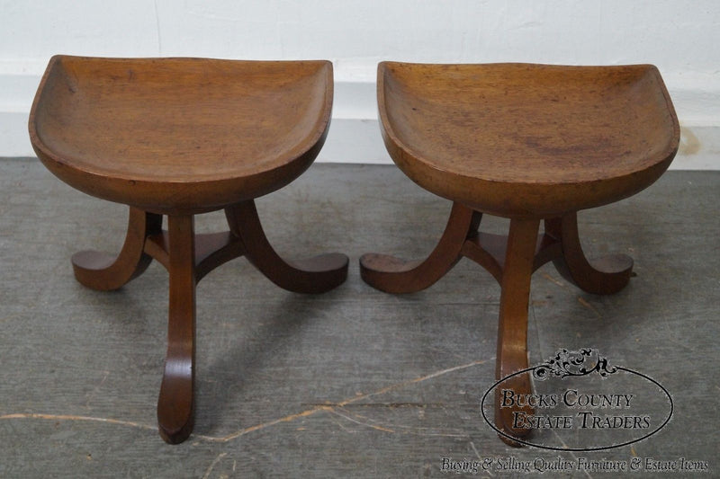 Sculptural Pair of 3 Leg Stool after Adolf Loos