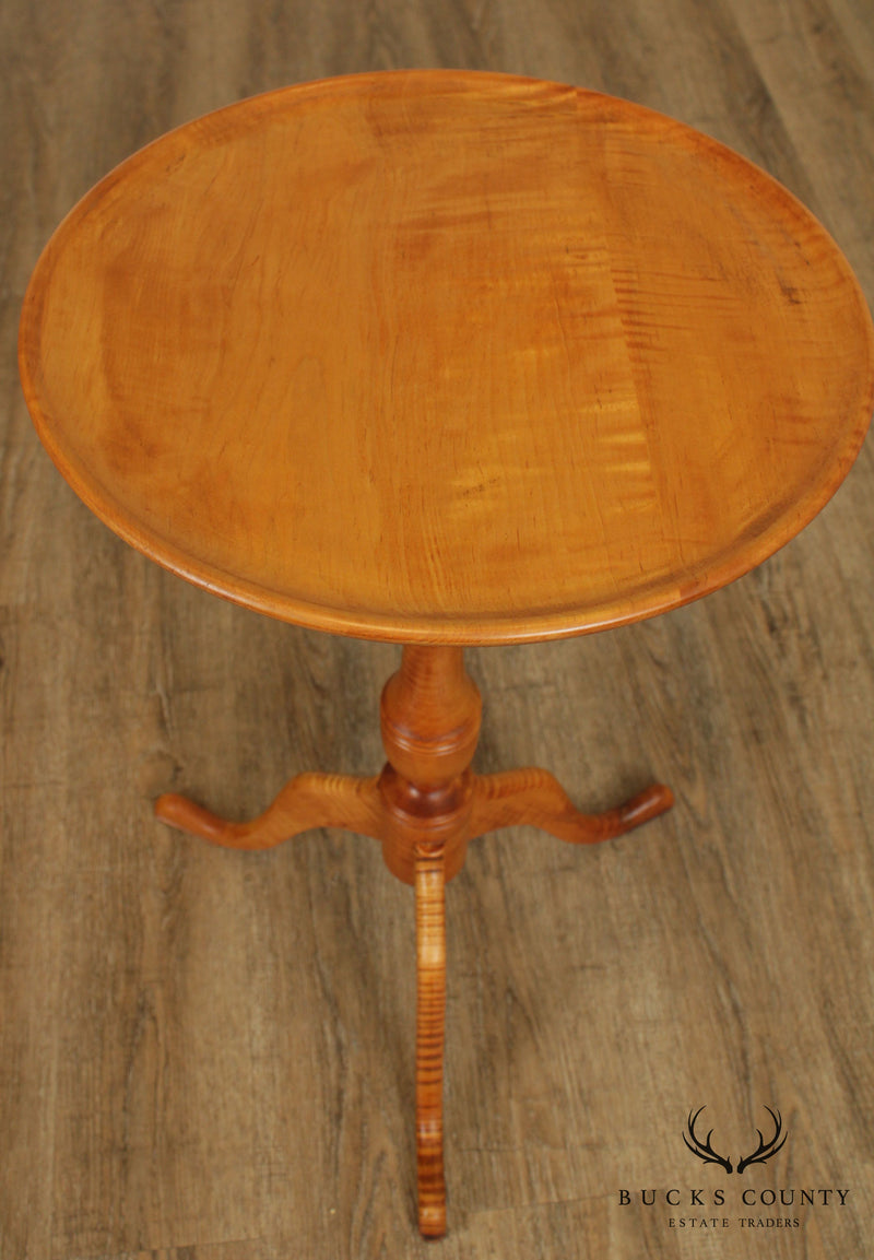 Tiger Maple Custom Crafted Queen Anne Round Side Table Candle Stand