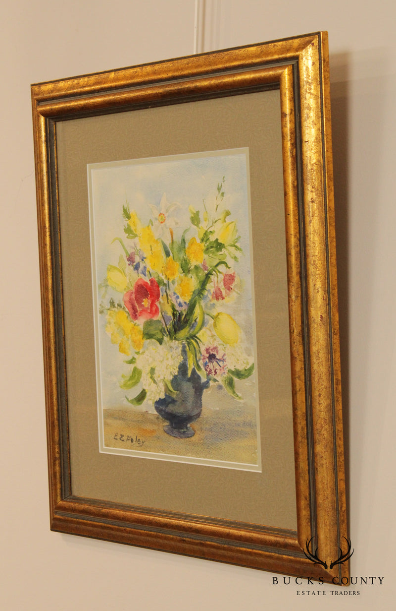 EZ Foley Original Watercolor Painting Still Life of Flowers