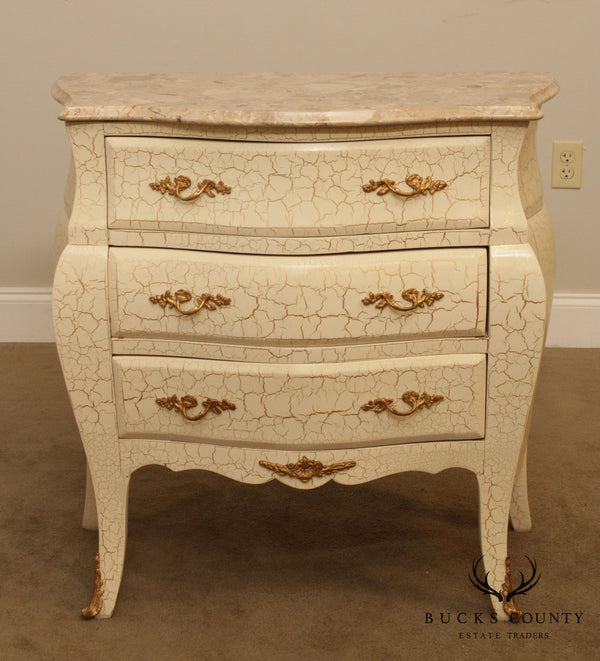 French Louis XV Style Crackle Painted Bombe Marble Top Commode Chest