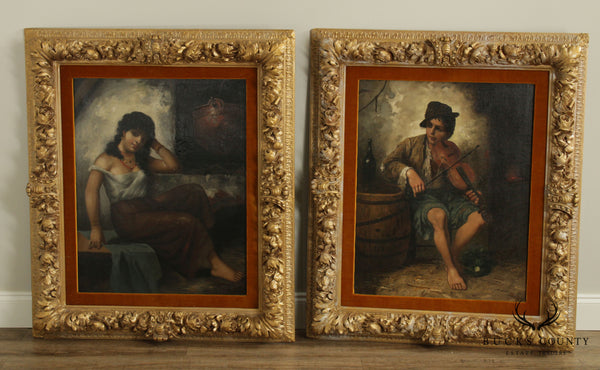 J.L Ronay 19th Century Companion Pair Gilt Frame Oil Paintings of Street Musicians