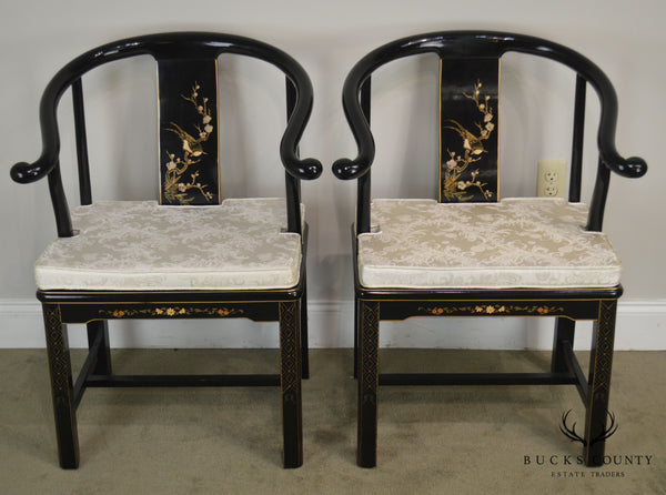 Asian Black Lacquer Chinoiserie Painted Vintage Pair Horseshoe Armchairs