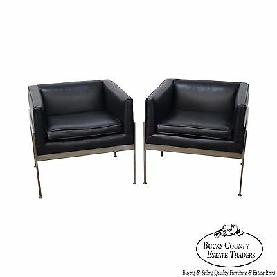Incredible Knoll Pair Mid Century Modern Chrome Frame Black Leather Lounge Chairs A Inzonedesignstudio Interior Chair Design Inzonedesignstudiocom
