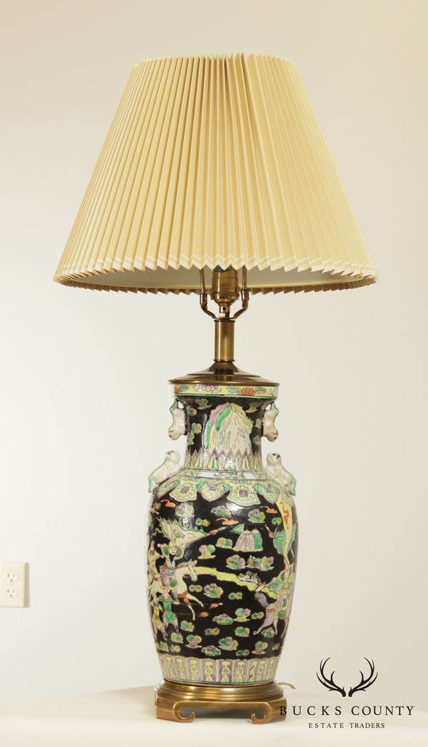Remington Asian Pottery Brass Base Table Lamp