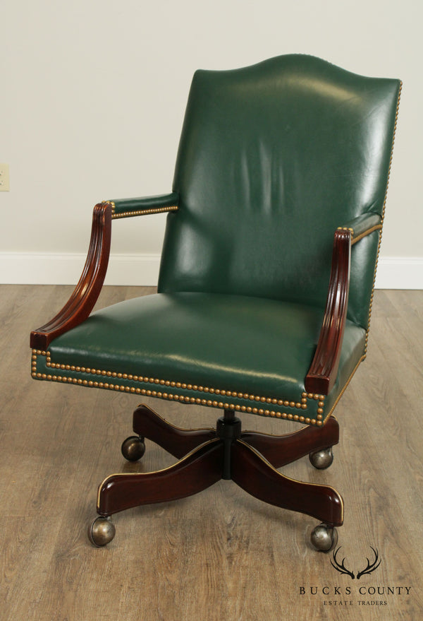 Hickory Chair Mahogany Green Leather Office Desk Chair (C)