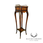 Maitland Smith French Louis XV Style One Drawer Inlaid Tall Side Table