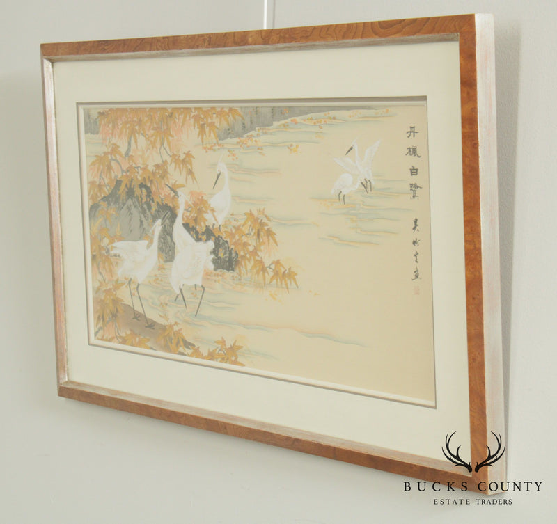 Custom Framed Asian Style Fine Art Print with Cranes