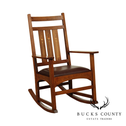 Stickley Mission Collection Harvey Ellis Rocker with Inlay