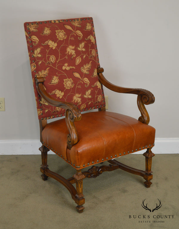 Lillian August Drexel Heritage French Louis XIV Style Armchair W/ Leather Seat