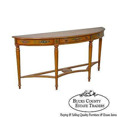 Maitland Smith Long Paint Decorated Demilune Console