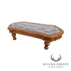 Victorian Style Faux Marble Glass Top Low Coffee Table