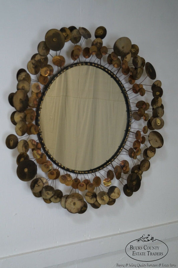 Curtis Jere Raindrops Vintage Round Frame Wall Mirror