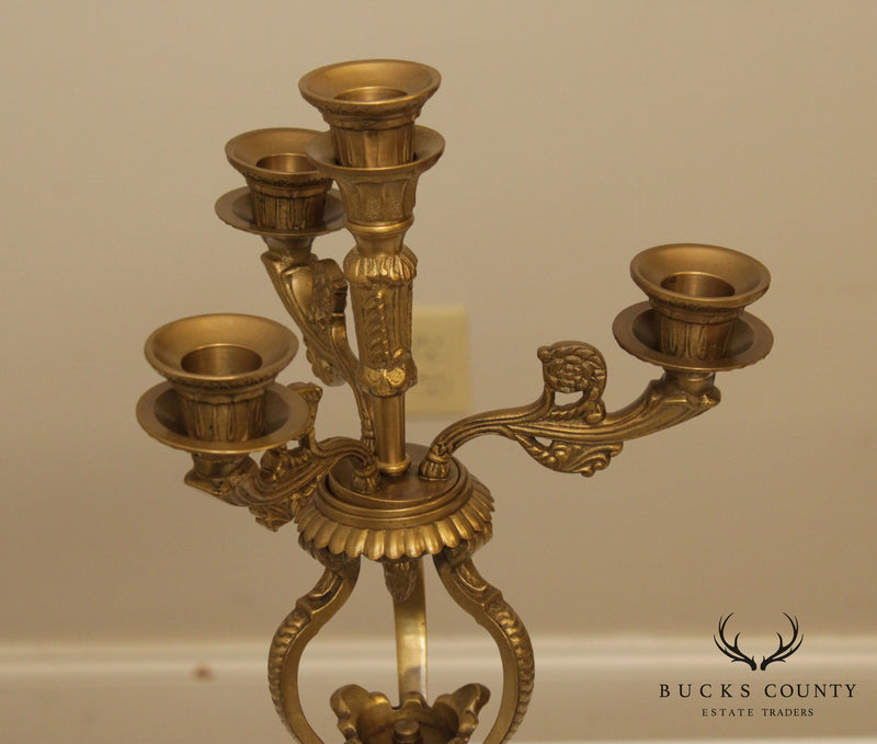 French Empire Style Pair Bronze Candelabra