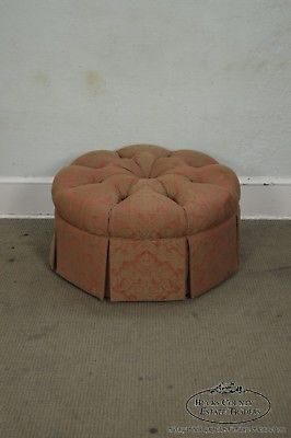 Custom Upholstered Round Tufted Ottoman