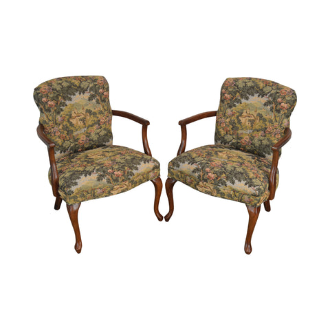 Sherwood Forest Custom Tapestry Upholstered Queen Anne Armchair