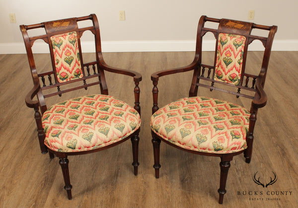 Antique Egantine Marquetry Inlaid Pair Walnut Armchairs