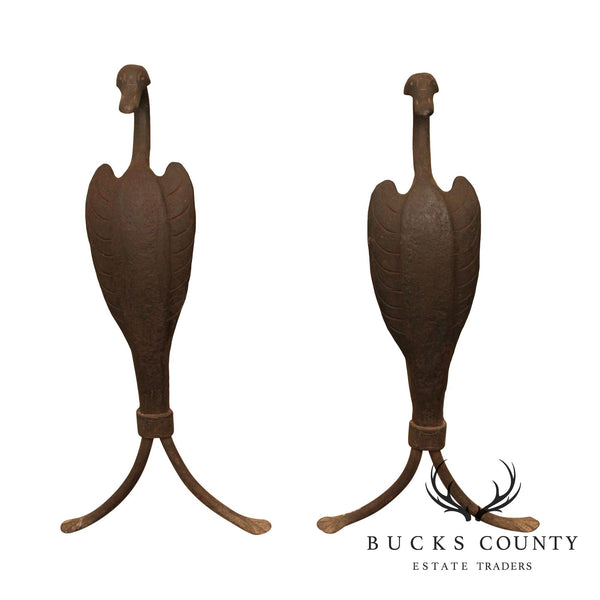 Antique Hand Forged Swan Andirons