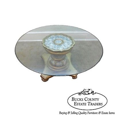 Quality Gilt Rococo French Style Carved Round Glass Top Coffee Table