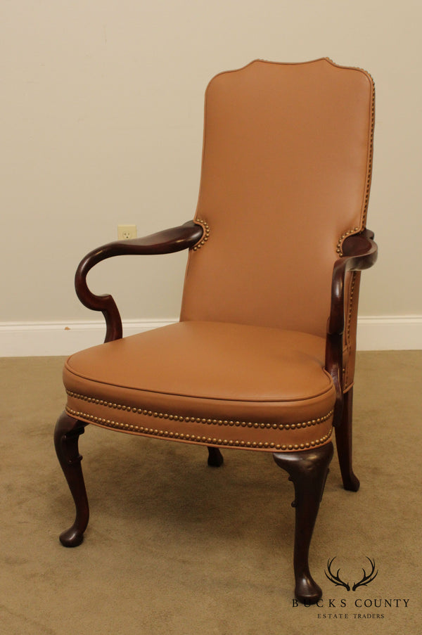 Queen Anne Style Mahogany Leather Armchair