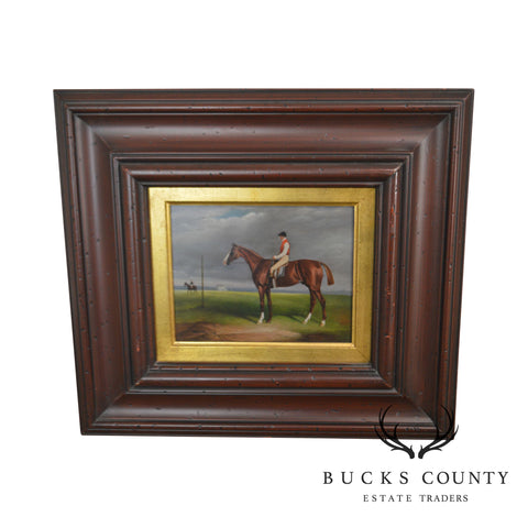Equestrian Race Horse and Jockey at Post, Oil Painting, Signed Terlou