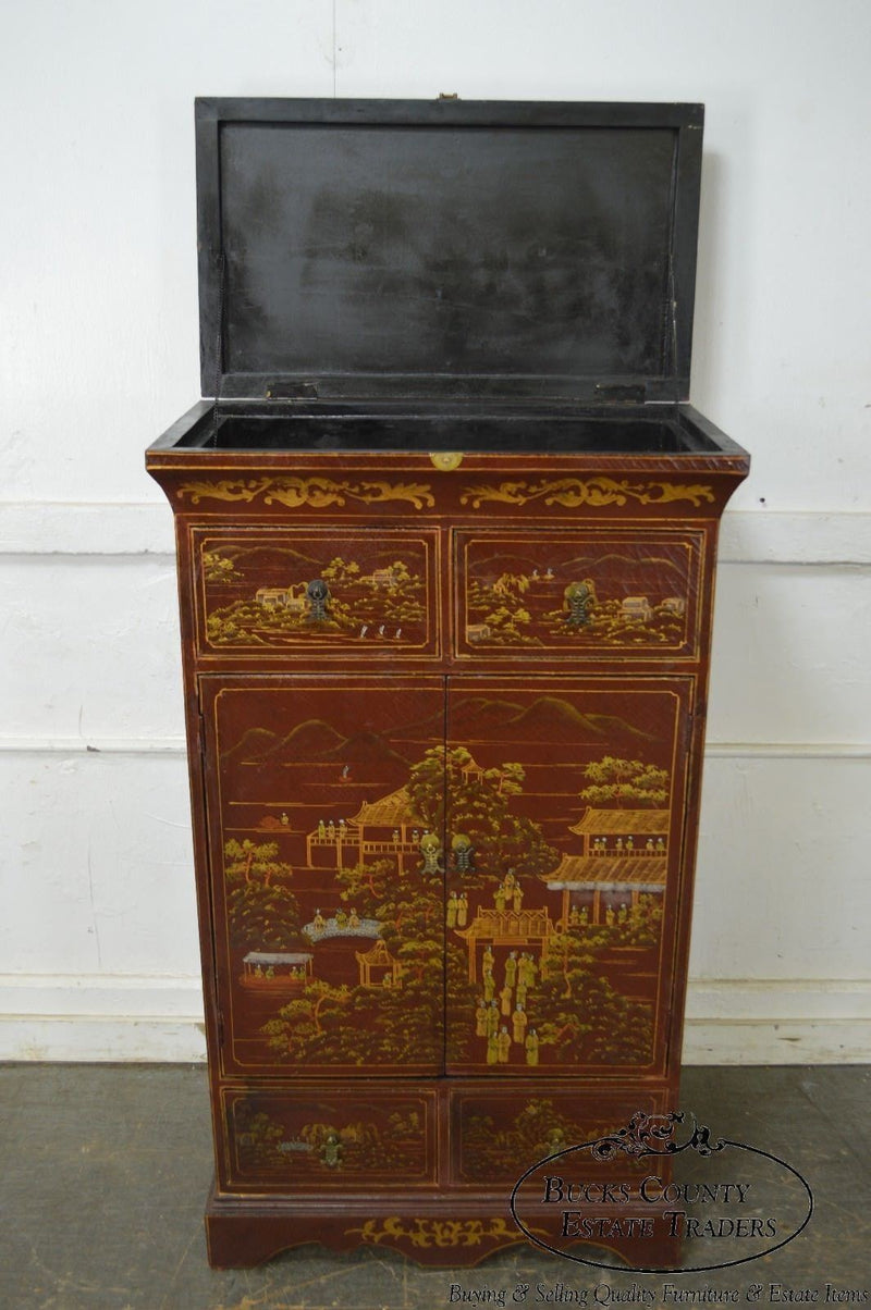 Chinoiserie Red Hand Painted Decorative Pair of Cabinets