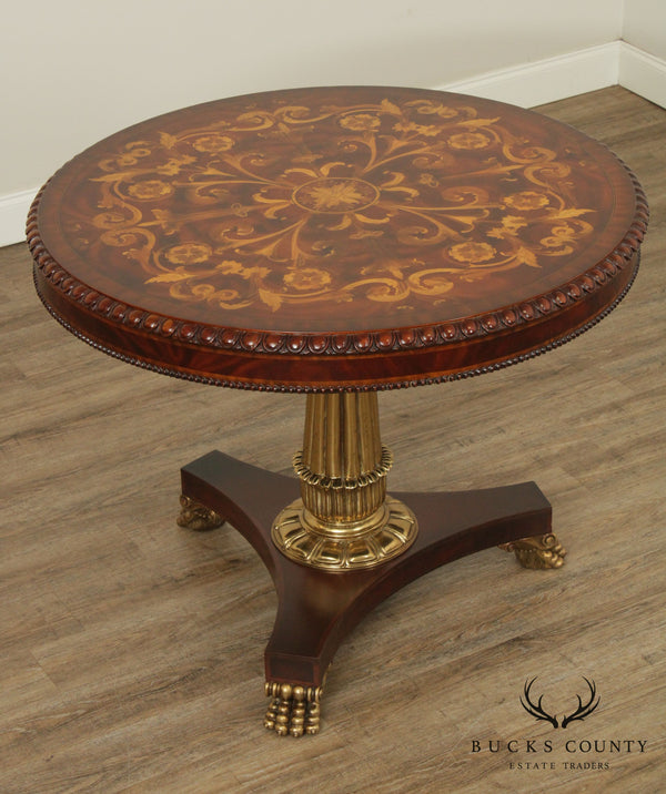 Maitland Smith Regency Style Round Marquetry Inlaid Center Table