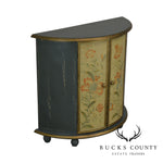 Distressed Painted Demilune Console Cabinet