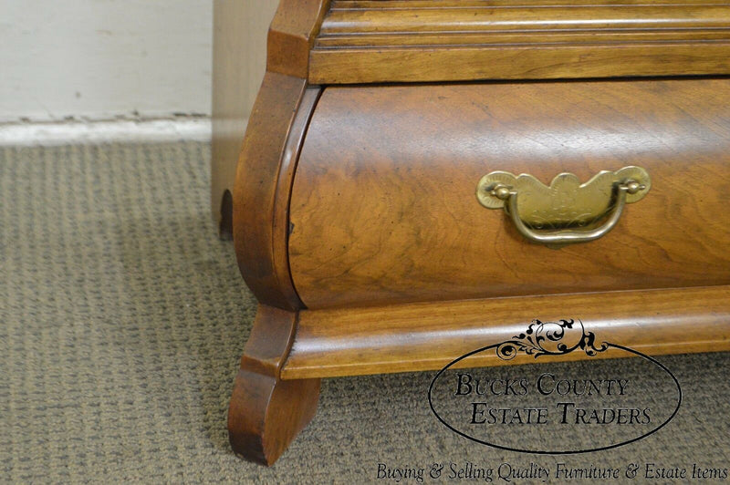 Baker Walnut Bombe Continental Style 3 Drawer Commode Chest Nightstand