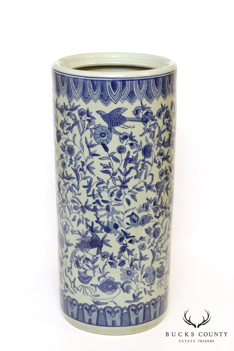Vintage Blue and White Chinese Porcelain Umbrella Stand