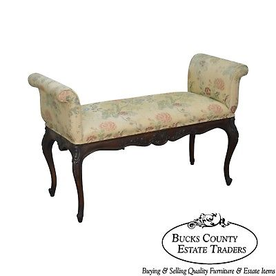 1940s French Louis XV Style Carved Mahogany Window Bench