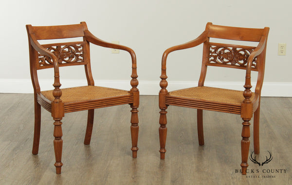 British Colonial Empire Style Pair Vintage Hardwood Caned Seat Armchairs